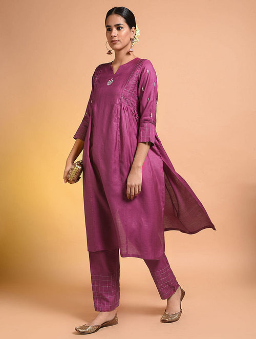 Pink Embroidered Silk Cotton Kurta