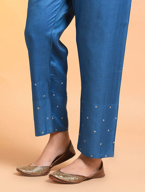Blue Embroidered Tie-up Waist Silk Cotton Pants