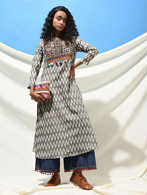 NAVLAKHI VAV - Ivory-Black Handloom Ikat Cotton Kurta with Jat Embroidered Yoke with Tassels