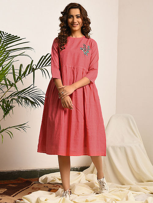 PRIDE AND PREJUDICE - Pink Handloom Bengal Cotton Dress with Embroidery
