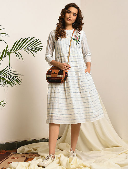 LADY SUSAN - Ivory-Blue Handloom Bengal Cotton Dress with Embroidery