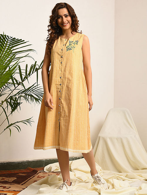 NORTHANGER ABBEY - Yellow-Ivory Handloom Bengal Cotton Dress with Embroidery