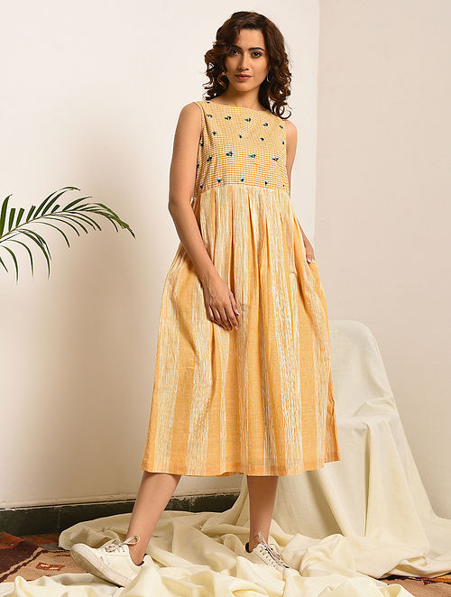 JANE EYRE - Yellow-Ivory Handloom Bengal Cotton Dress with Embroidery