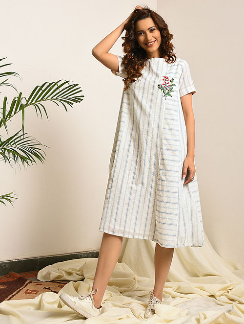 MIDDLE MARCH - Ivory-Blue Handloom Bengal Cotton Dress with Embroidery
