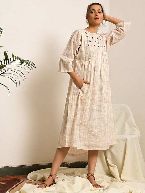 FOLKLORIST - Ivory-Pink Handloom Bengal Cotton Dress with Embroidery