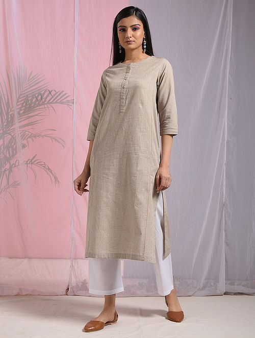 PEKU POGULU - Beige Mangalgiri Cotton Kurta with Pockets