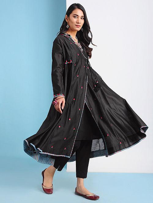 TASHKENT - Black Embroidered Silk Cotton Angrakha with Tassels (Set of 2)
