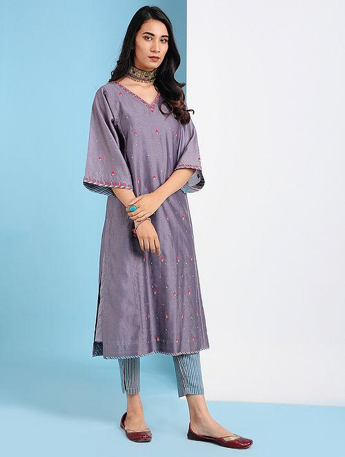QARSHI - Purple Silk Cotton Kurta with Embroidery (Set of 2)