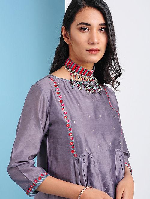 TERMEZ - Purple Silk Cotton Kurta with Embroidery