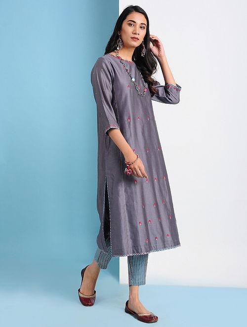 SHIRIN - Purple Embroidered Silk Cotton Kurta