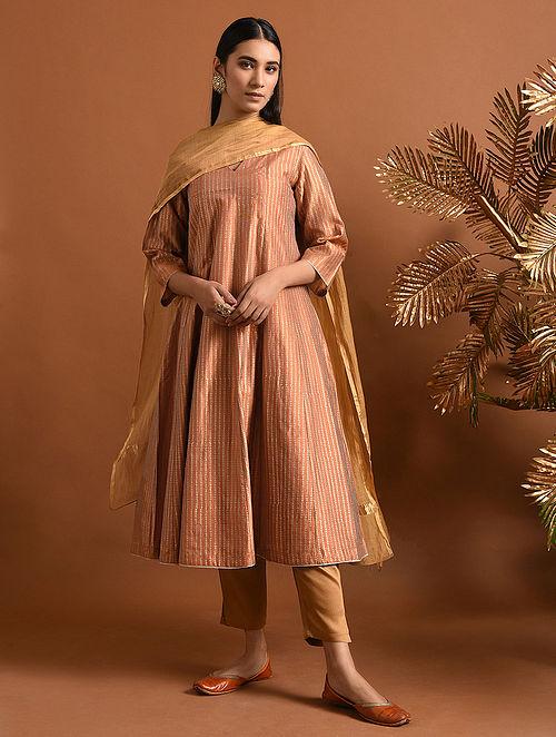 LAL DED - Orange Khari Block Printed Silk Cotton Kalidar Kurta