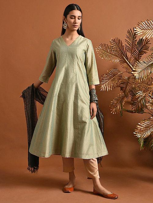 GANGASATI - Green Khari Block Printed Silk Cotton Kalidar Kurta
