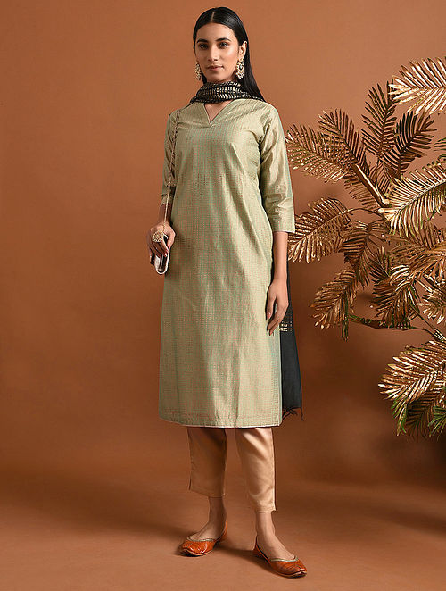 SAKHUBAI - Green Khari Block Printed Silk Cotton Kurta