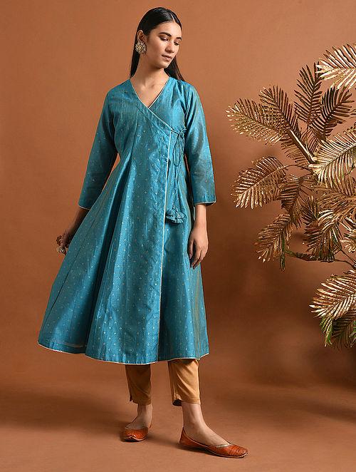 MUKTABAI - Blue Khari Block Printed Silk Cotton Angrakha with Slip