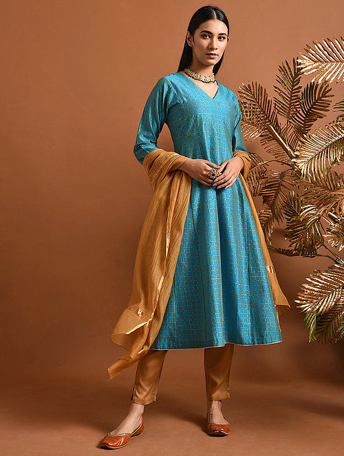 ANDAL - Blue Khari Block Printed Silk Cotton Kurta with Slip