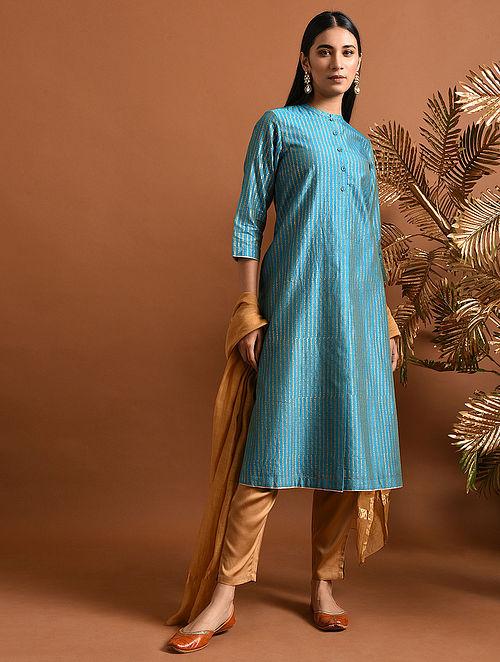 MAITREYI - Blue Khari Block Printed Silk Cotton Kurta with Pockets