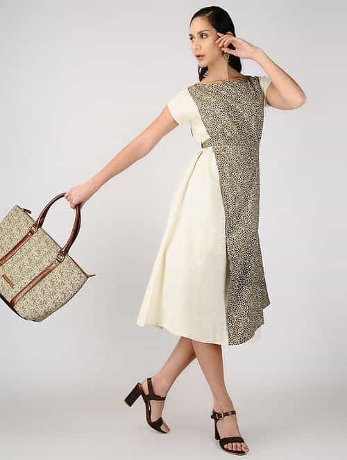 Ivory-Beige Ajrakh-printed Cotton Dress with Belt