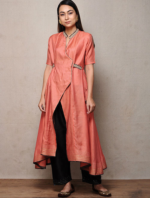 Orange Hand-embroidered Silk Cotton Kurta with Tassels