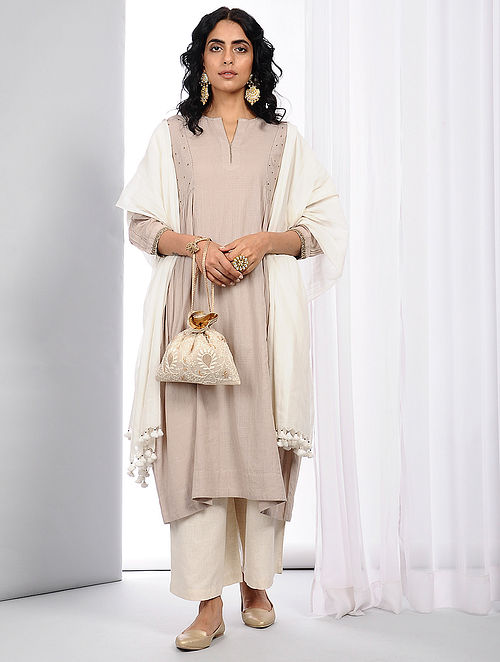 Beige Natural-dyed Handloom Cotton Kurta with Hand Crochet