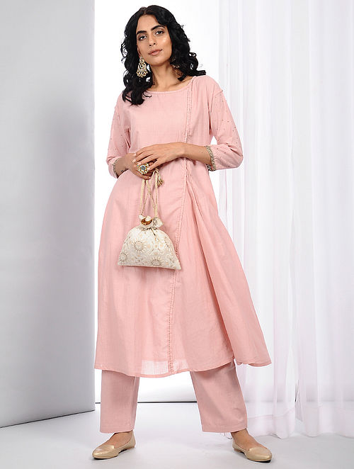 Pink Natural-dyed Handloom Cotton Kurta with Hand Crochet