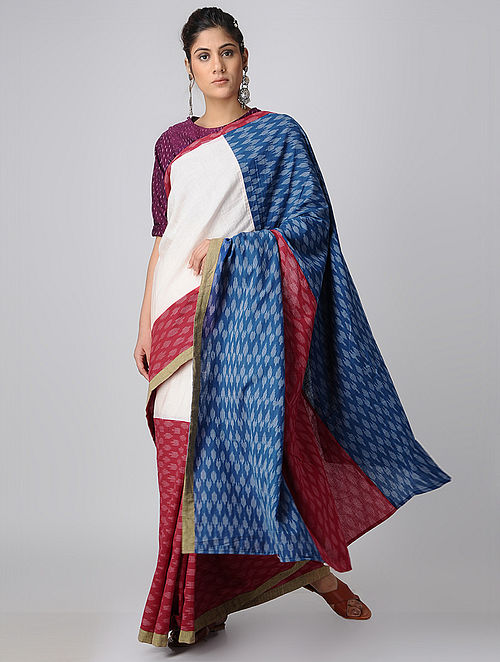 Buy Indigo Red Handloom Cotton Ikat Constructed Saree By