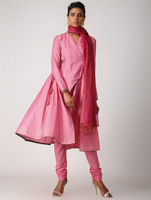 Pink Hand-embroidered Silk Cotton Kurta with Tassels