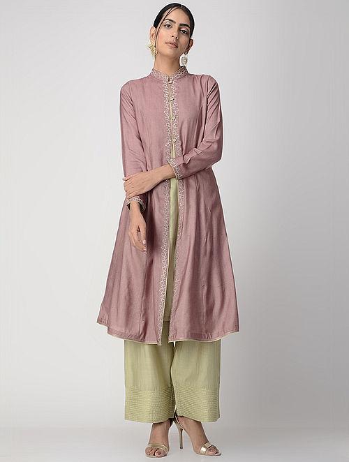 Mauve-Green Zari-embroidered Silk Cotton Jacket with Slip (Set of 2)