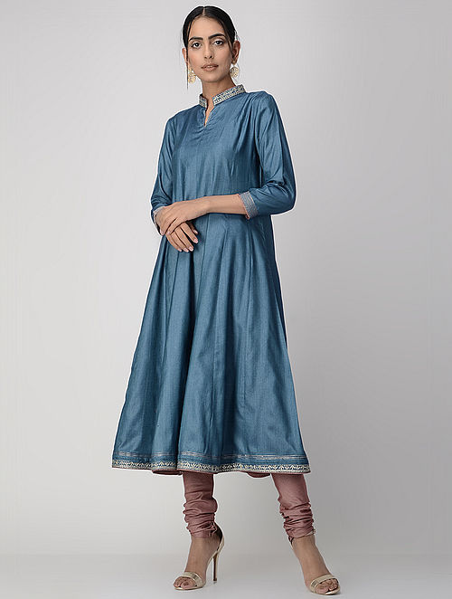 Blue Zari-embroidered Silk Cotton Kalidar Kurta