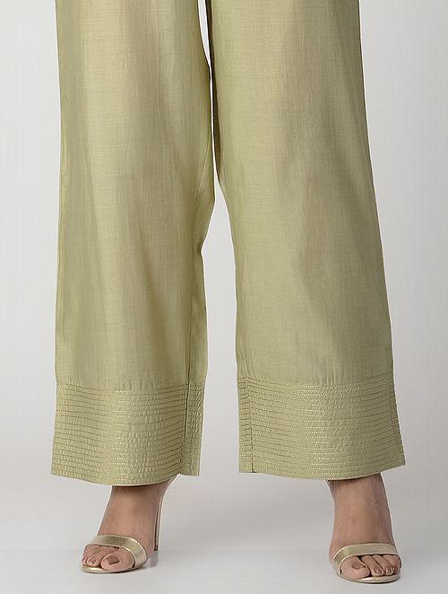 Green Elasticated-waist Zari-embroidered Silk Cotton Palazzos with Pockets