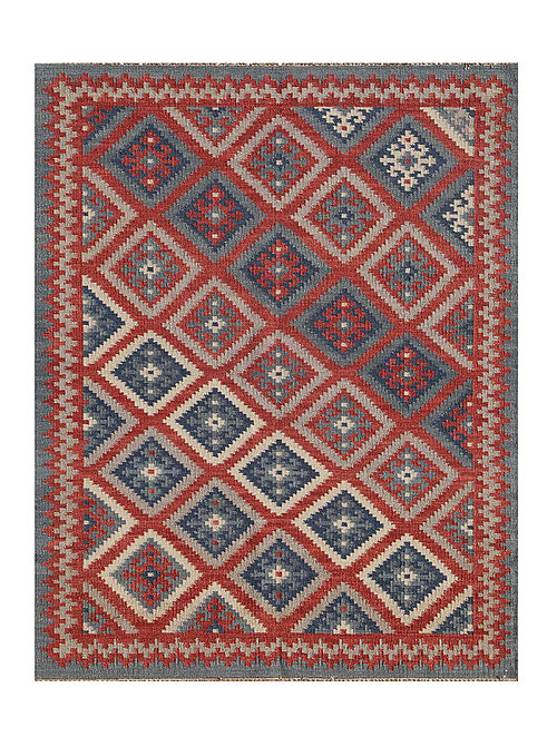 Anatolia Blue-Brown Hand made Reversible Wool Rug