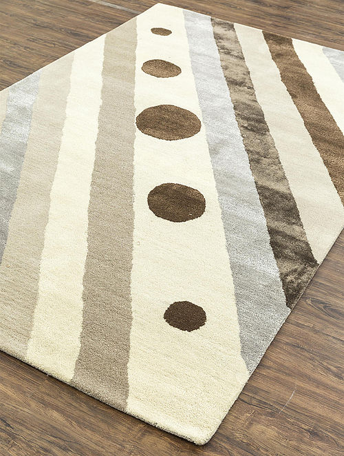 Grey-Multicolored Hand Tufted Wool Rug (8ft x 5ft)