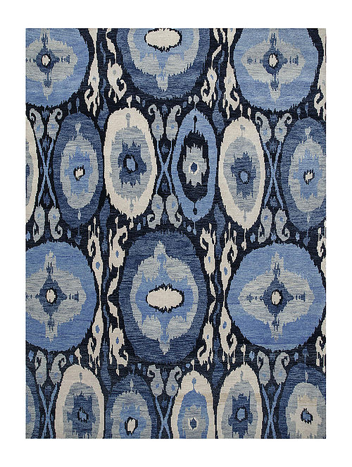 Navy-White Hand-knotted Wool Rug
