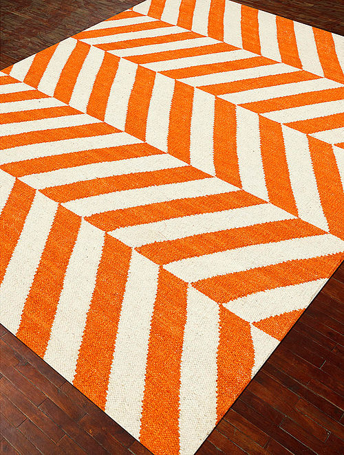 Orange-White Hand-Woven Wool Dhurrie