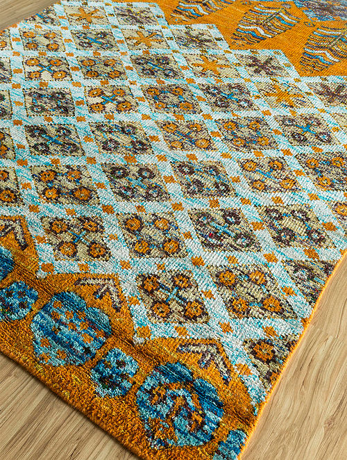 Yellow Gold Hand Knotted Sari Silk Rug (5ft X 8ft)