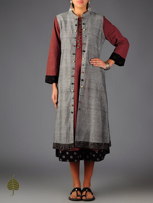 Grey - Black Ajrakh  Detailed Cotton Sleeveless Long Jacket By Jaypore