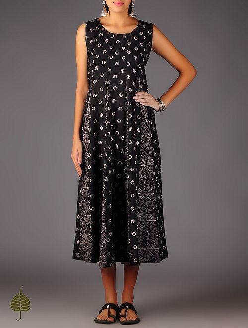 Black - Beige  Ajrakh Cotton Dress By Jaypore