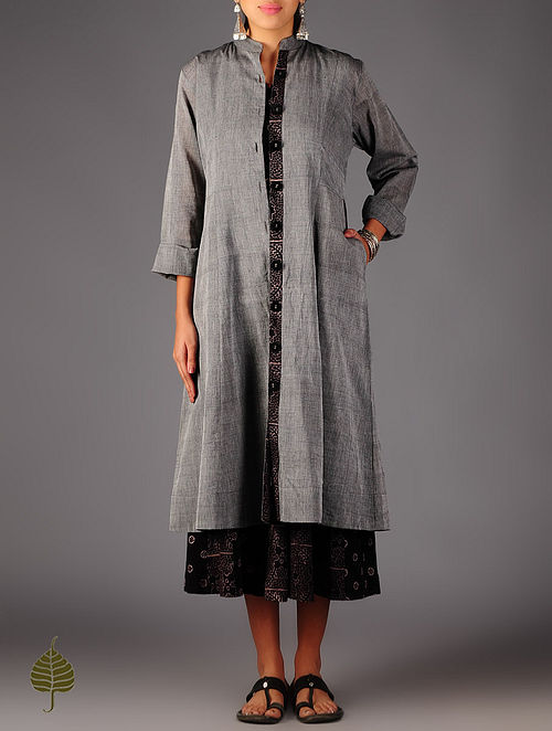 Grey Ajrakh Detailed Cotton Button Down  Dress By Jaypore