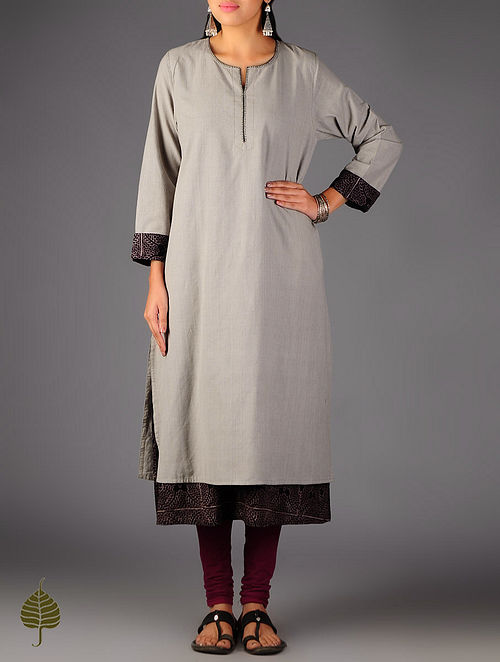 Grey - Black Ajrakh Detailed Cotton Layered Kurta By Jaypore