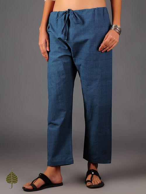 Indigo Tie - Up Waist Cotton Pants By Jaypore