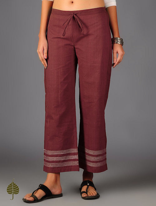 Maroon Kantha Embroidered Elasticated Tie-Up Waist Pants By Jaypore