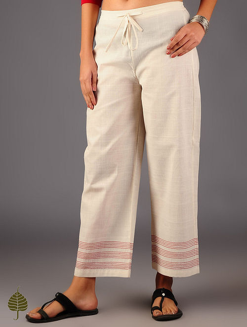 Ivory Kantha Embroidered Elasticated Tie-Up Waist Pants By Jaypore