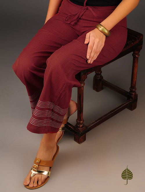 Maroon-Ivory Kantha Embroidered Elasticated & Tie-Up Waist Cotton Pants by Jaypore