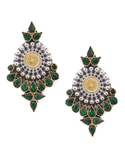 baa5c5c3e07eb7 Buy Green Dual Tone Silver Earrings Online at Jaypore.com