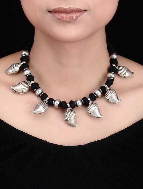Black Thread Tribal Silver Necklace with Paisley Design