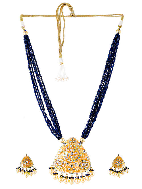 Blue Cream Gold Tone Kundan Enameled Necklace and Earrings with Pearls