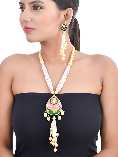 Multicolor Gold Tone Kundan Enameled Necklace and Earrings with Pearls
