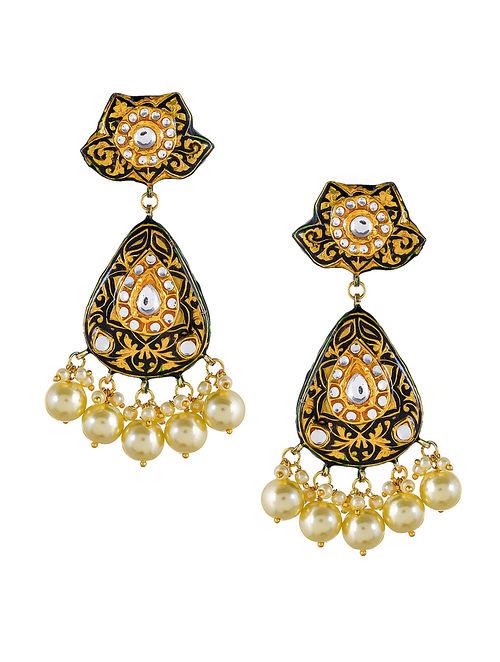 Black Gold Tone Kundan Enameled Earrings with Pearls