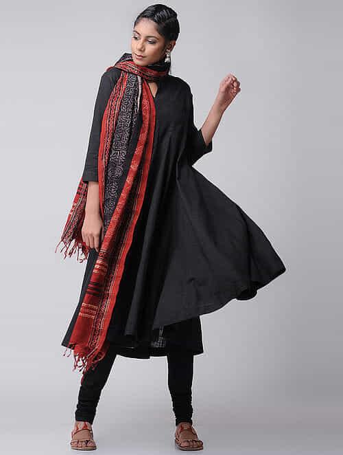 Black Cotton Slub Kalidar Kurta by Jaypore