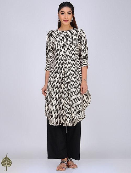Black-Ivory Block-Printed Cotton Kurta by Jaypore