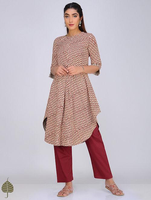 Red-Ivory Block-Printed Cotton Kurta by Jaypore